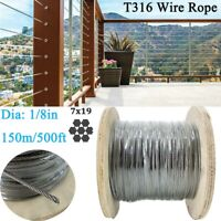 """500Ft 1/8"""" Wire Rope Cable 7x19 Construction T316 Stainless Steel Cable Railings"""