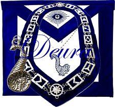 Masonic Master Mason Junior STEWARD SILVER Jewel Collar and EMBROIDERED Apron