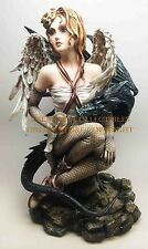 Large Angel Wings Fairy and Dark Dragon Companion Fantasy Magic Figurine Statue