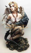 Large Angel Wings Fairy and Dark Dragon Companion Fantasy Magic Figurine Statue