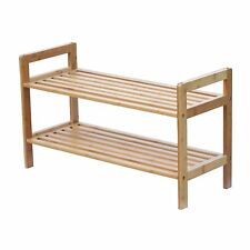 Bamboo Stackable Shoe Rack 2Tier Display Space Saver Compact New