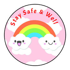 Thank You Stay Safe Be Safe Stickers Labels Rainbow Sweet Cones Gifts Seals