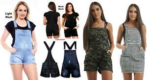 New Ladies Women's Denim Dungarees Playsuit Jumpsuit MINI Short Dress Jeans 8-20