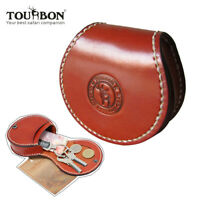 Genuine Leather Coins Purse Round Pouch Holder Zipper Case Wallet Belt-TOURBON