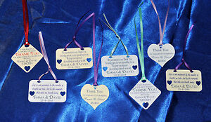 30 x Personalised Wedding Favour Tags 4 designs hand made cream or white