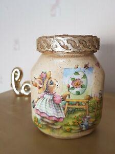 Eastern jar,sweet jar,vintage handmade decoupage,storage jar