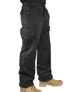 Mens Combat Cargo Work Trousers Size 30 to 42 in Black or Navy TROUSERS By RSW