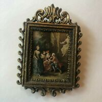 """Small Brass Square Ornate Frame Made In Italy Metal 4"""" Decor Vintage"""