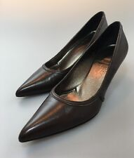 Salvatore Ferragamo Classic Pumps Brown Leather Size7.5 AA Wear To Work Tarabusa