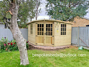 CORNER HOUSE SUMMER HOUSE SHED MAN CAVE  GARDEN OFFICE T&G DELIVERY 8-14 WEEKS