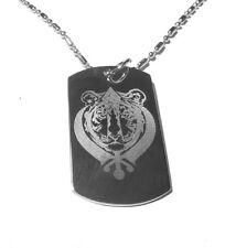 Military Dog Tag Metal Chain Necklace Sikh Sikhism Sardar Khanda Khalsa Tiger