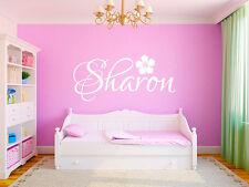 "Hibiscus Name Wall Decal Monogram Girls Nursery Room Vinyl Wall Decal 18"" Tall"