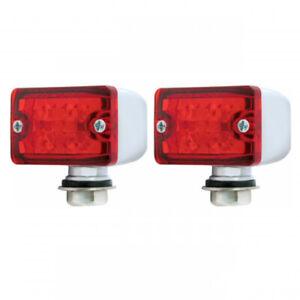 PAIR Red LED Rod Lights Small Rectangular Chrome w/ Red Lens & 4 LEDs 12V