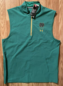 Notre Dame Football Team Issued Under Armour Warm Up Vest Green New Tags Large