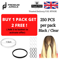 250 x Thin Snag Free Elastic Hair Bands Bobbles School Ponytail Band Black
