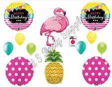 PINK FLAMINGO & PINEAPPLE Happy Birthday Party Balloons Decorations Supplies