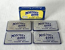 5 NOS Vintage Boxed MYSTERY EDGE Brand Double Edged Blue Steel Razor Blades