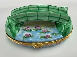 Limoges France Porcelain Trinket Box Monet Bridge Vintage Artoria Water Lily