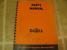 DoAll D236 Band Saw Parts Manual Catalog List