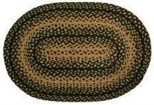 Country Primitive Farmhouse Braided Oval Black Tan 20 X 30 Rug Door Kitchen