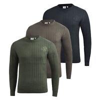 Mens Knitwear Crosshatch Sweater Textured Knitted Jumper