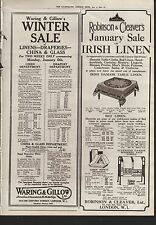 1919 ADVERT WARING AND GILLOW ROBINSON AND CLEAVERS LONDON LINEN DRAPERIES CHINA