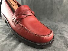 Weejuns Bass Womens Brick Red Penny Loafer Shoe 7M Made In Brazil Lug Sole Great
