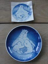 BING & GRONDAHL COPENHAGEN PORCELAIN-1974 MOTHERS (MORS) DAY PLATE- POLAR BEARs