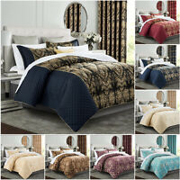 Jacquard Bedspread with Pillow Shams & Semi Blackout Fully Lined Eyelet Curtains