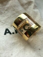 APC ring gold and clear lucite resin chain ring