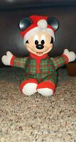 Vintage Disney Mattel Lighted Face Mickey Mouse Plush Toy Christmas Hat