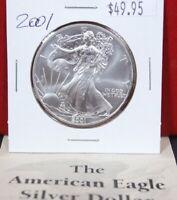 2001 American Silver Eagle BU 1 oz Coin US $1 Dollar Mint Brilliant Uncirculated