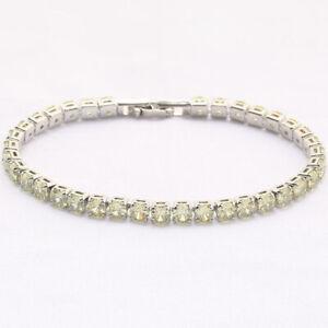 4MM Dia Apple Green Citrine Silver Women Girls Jewelry Gifts Gemstone Bracelets