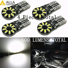 Alla Lighting 4pc T10 White LED License Plate Tag Light Front Side Marker Bulbs