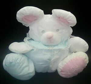 """Vintage 1988 Fisher Price 11"""" Puffalump White Blue Pink Mouse Rattle Stuffed Toy"""