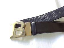 BALLY B Buckle Oblique Reversible Belt Black/Blue 1.75 Authentic $325