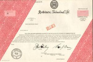 Robinex International stock certificate