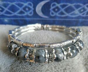 Black moonstone Larvikite Bracelet Crystal Healing spiritual support