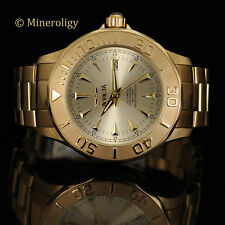 Invicta Signature 18k GOLD Plated Automatic 24 Jewel Champagne Dial Mens Watch