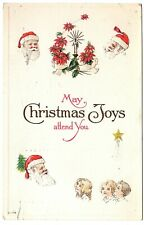 May Christmas Joys Attend You Santa and Children Vintage Embossed Postcard 1915