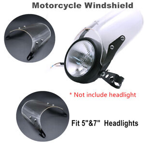 """1PCS Motorcycle Front Windshield Fit for 5""""&7"""" Round Headlights Windscreen Kits"""