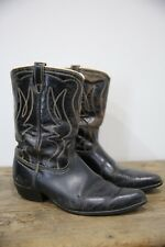 Vtg Black Stitched Cowboy Cowgirl Country Western Southwestern Boots