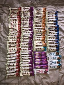 Lot Of 86 Think Thin Protein Bars Brownie Peanut Butter Chocolate 20g 10/20-1/22