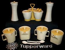 Tupperware ALMOND GOLD Condiment Lot ~Creamer ~Sugar Bowl ~Cruet Set ~Condimate