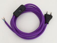 Nouveau: 3 m avance de Câble textile Pourpre 2x0,75 bouchon + Interrupteur