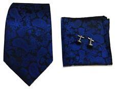 Mens Paisley Jacquard Silk Tie Set Cufflinks and Handkerchief  Wedding Gift Set