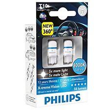 2 x Lamparas LED Philips T10 8000K Xtreme Vision Xenon Blanca Azulada Bombillas