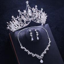 Silver Wedding Bridal Crystal Headband Crown Tiara Necklace Earrings Jewelry Set