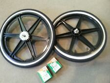 "NEW 20"" MAG WHEELS 6 SPOKE WHITEWALL TIRES TUBES FOR GT DYNO HARO BMX BICYCLES"