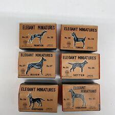 Linemar Elegant Miniatures metal animal lot. Marx Dog, Boxer, Shepard Doberman